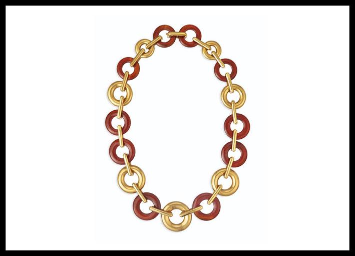 Collana in oro e corniola di Aldo Cipullo