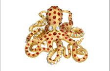 Polipo in oro, diamanti e spinelli: è uno dei pezzi esposti alla mostra