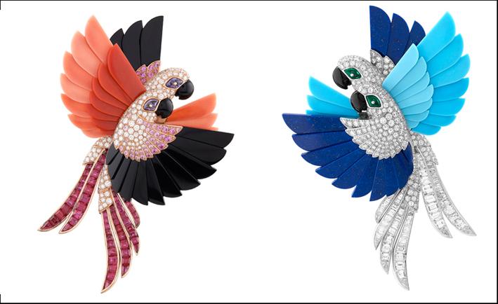 Spille uccelli amazzonici, diamanti, smalto e rubini