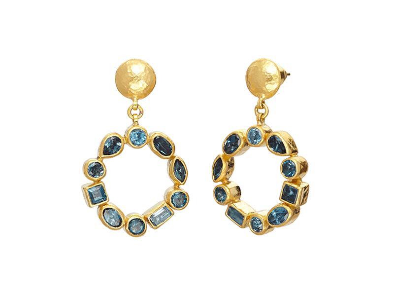 Orecchini pendenti Pointelle in oro 24 carati con topazio blu sfaccettato