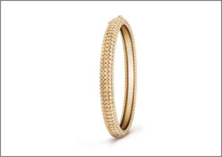 Bracciale in oro giallo con cinque linee di perline