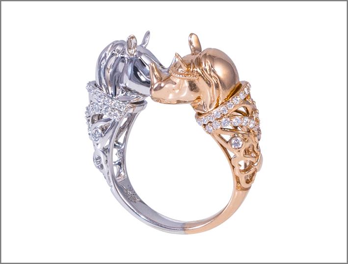 Bracciale in oro rosa e bianco con diamanti della collezione Clara