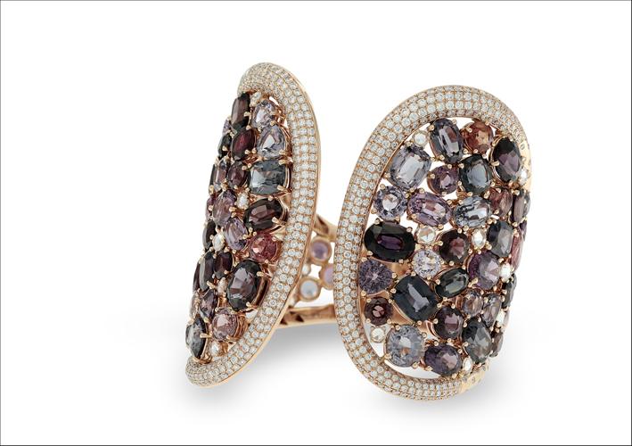 Bracciale con ametiste, diamanti, acquamarine