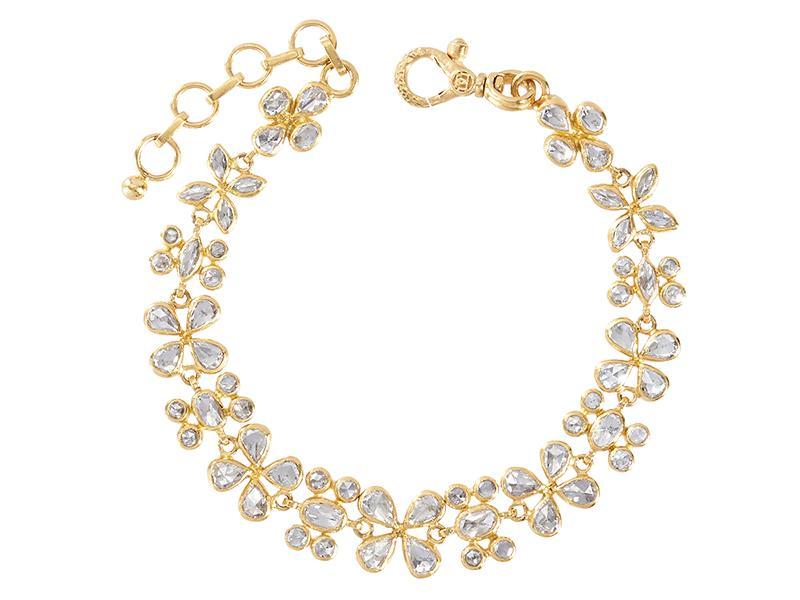 Braccialetto in oro 24 carati con diamanti misti e taglio rosetta, chiusura a moschettone