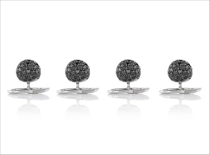 Bottoni in oro bianco e diamanti neri