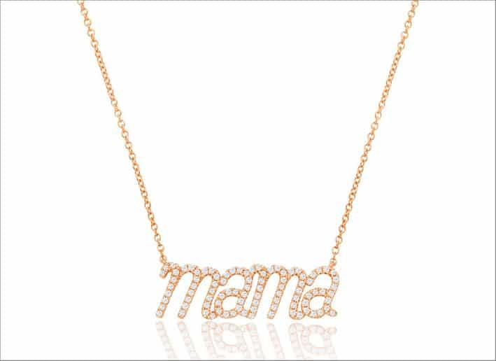 Pendente Mama in oro rosa e diamanti