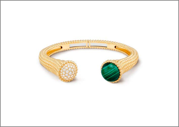 Bracciale in oro giallo, diamanti, malachite