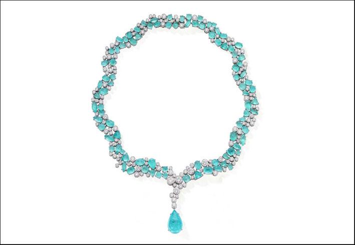 Collana con diamanti e tormalina Paraiba