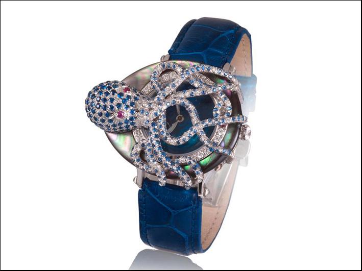 Orologio polipo, con madreperla, diamanti, zaffiri