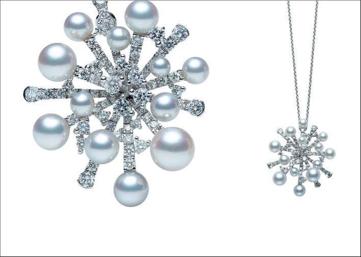 Spilla o ciondolo Splash, con perle, diamanti, oro bianco