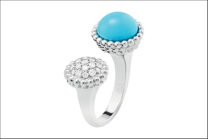 Anello Entre les Doigts Perlée couleurs in oro bianco, diamanti e turchese