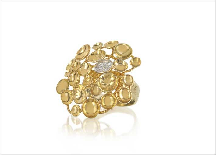 Anello Bouquet in oro giallo e diamanti
