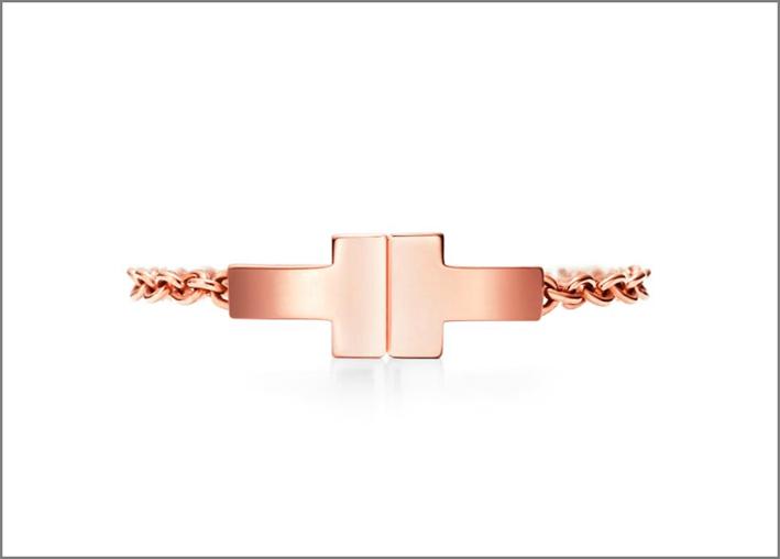 Collezione Tiffany T, anello Two a catena in oro rosa
