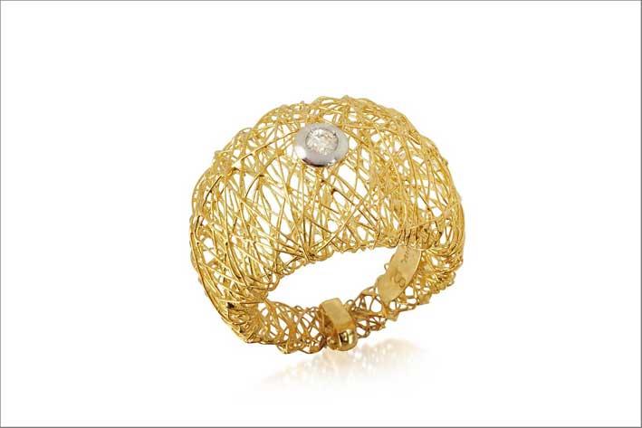 Anello Arianna in oro giallo e diamante