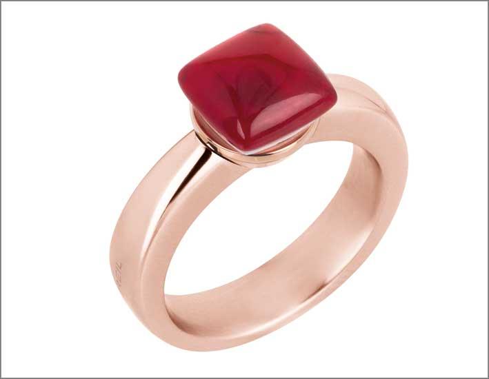 Breil Stones, anello con pietra rossa