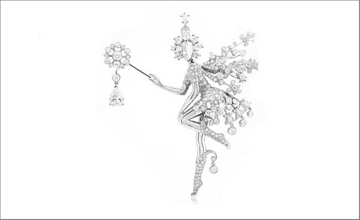 Clip Fée de l'Hiver clip, oro bianco e diamanti