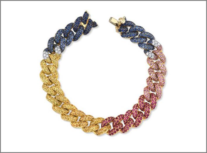 Bracciale Rainbow in oro, diamanti e zaffiri