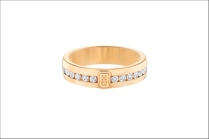 Harry Winston, anello HW Logo, in oro bianco e diamanti