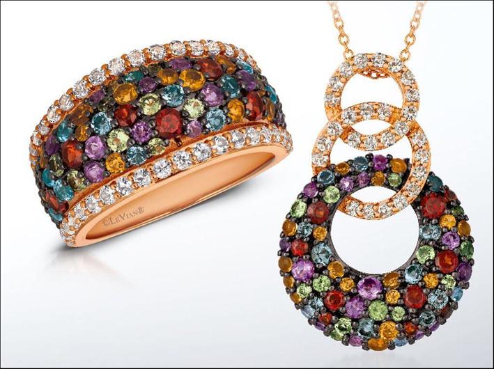 Mixberry Gems, anello e pendente in oro rosa e pietre di colore