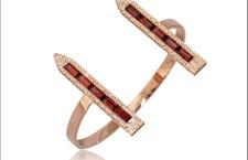 Bracciale in oro rosa, diamanti rosa, rubini