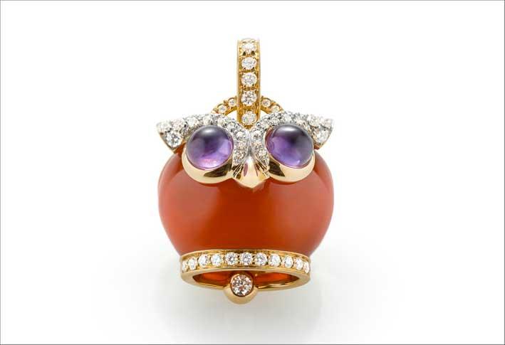 Camabnella gufo, in oro, ametista e diamanti