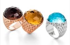 Anelli intrecciati in argento 925, placcati oro rosa e rodio con pietre colorate