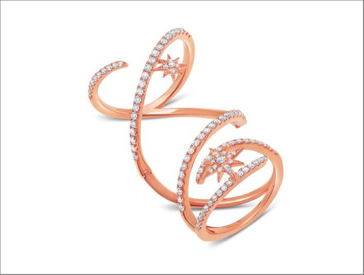 Anello in oro rosa 18 carati e diamanti