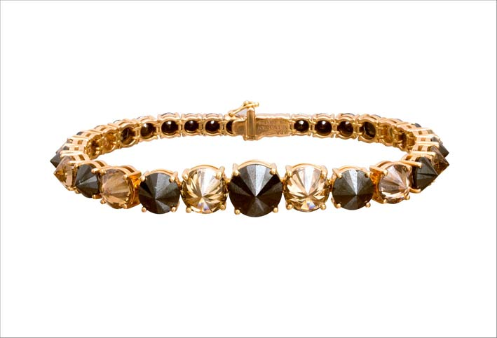 Bracciale con diamanti brown e neri