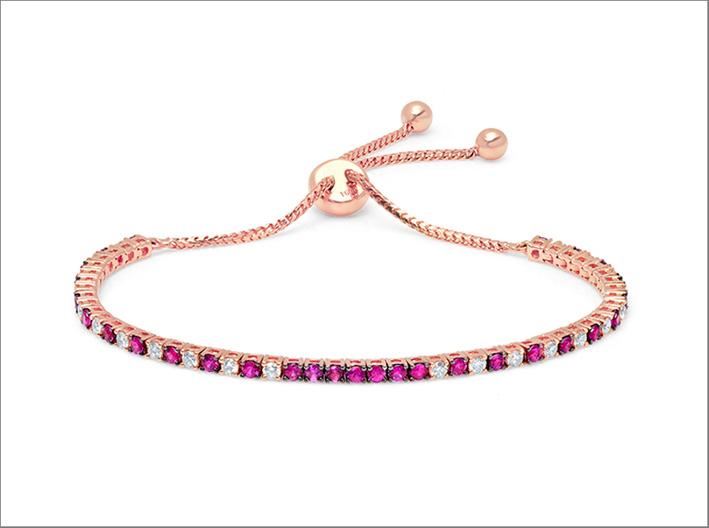 Bracciale in oro rosa 18 carati, rubini e diamanti
