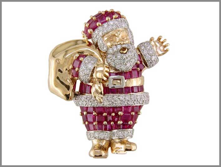 Babbo Natale, spilla in platino con 133 diamanti, 68 rubini