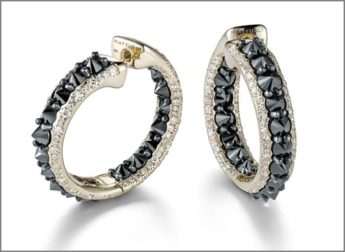 Orecchini in oro e diamanti neri
