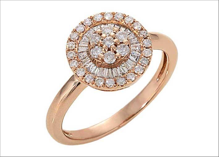 Anello Rosa Pizza. In oro rosa e diamanti. Prezzo: 1021 dollari