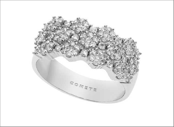 Anello emozioni, con 13 fiori in diamanti
