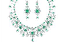 Collana con diamanti e orecchini della Cascade collection, con diamanti e smeraldi