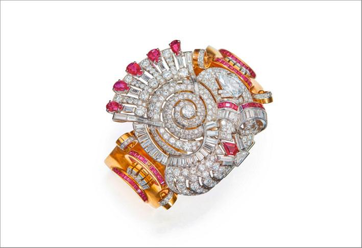 Bracciale in oro, diamanti e rubini
