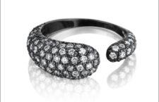 Collezione Gocce, anello in oro rodiato nero con diamanti bianchi