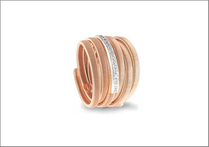 Anello flessibile in oro rosa e diamanti