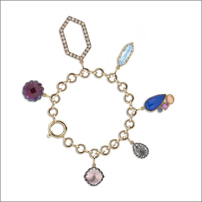 Bracciale Lady Emily, con charms in argento sterling rodio nero, quarzo bianco, viola, diamanti champagne, zaffiro blu