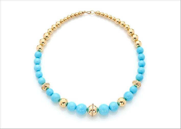 Collezione Barbarella, collana in oro e turchesi