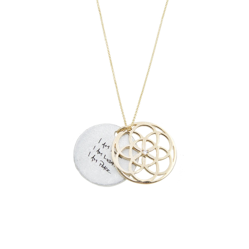 Collana Seed of life con oro 14 carati e diamanti