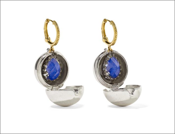 Lady Jane in oro 14 carati, argento sterling e orecchini al quarzo rodiato