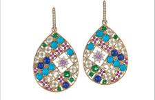 Orecchini Mosaïque, oro, diamanti, tsavorite, zaffiri rosa e gialli, lapislazzuli, turchesi, tsavoriti