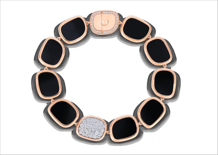 Roberto Coin, bracciale in oro rosa, diamanti e giada nera