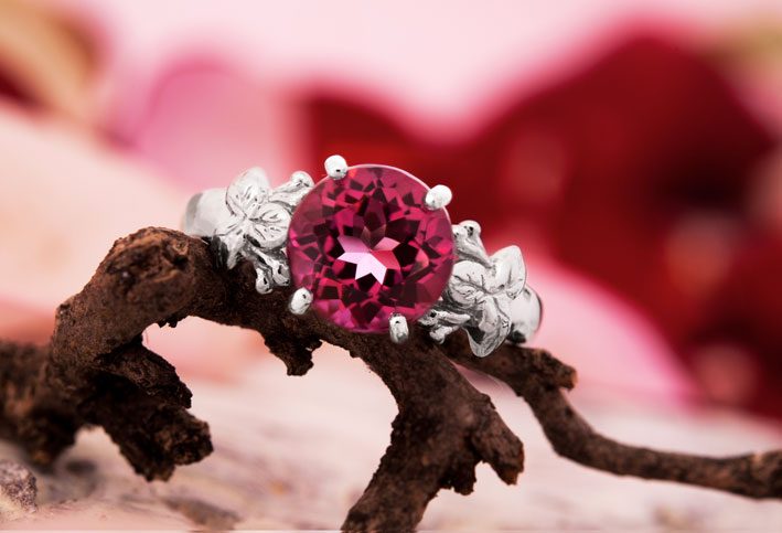 Juwelo, anello con tormalina rosa