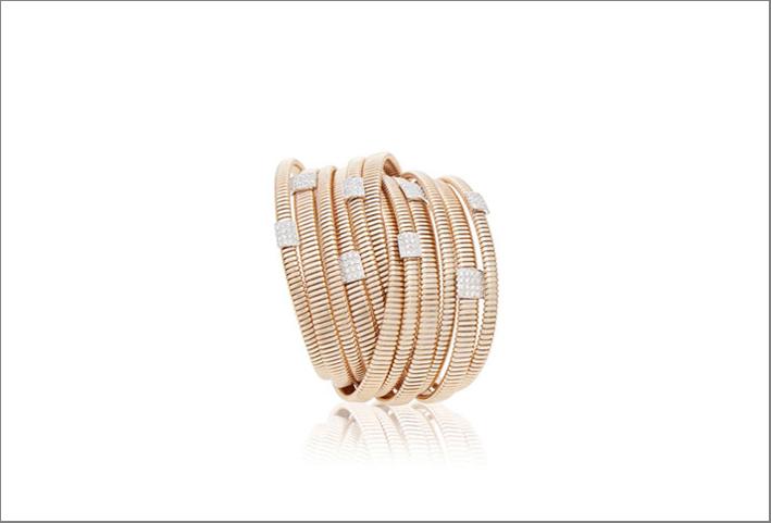 Bracciale tubogas in oro rosa con diamantj