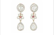 Orecchini Aisha in oro, diamanti Polki e rubini