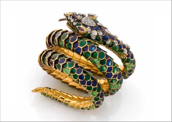 Buccellati, bracciale serpente in oro e smalto