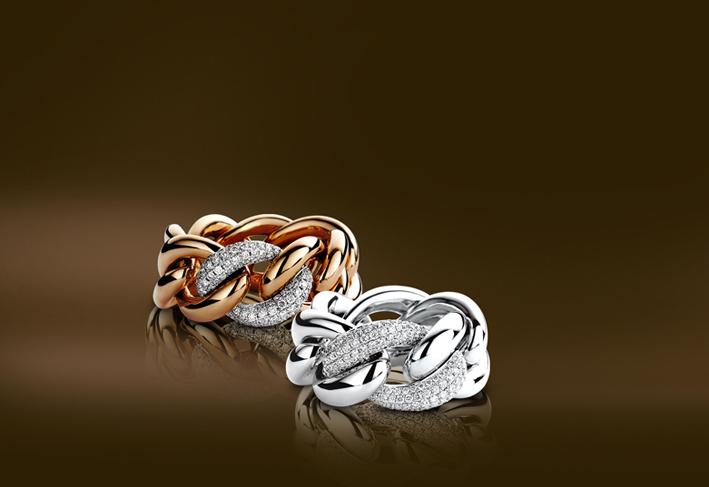 Collezione Portofino,  in oro bianco e rosa, diamanti