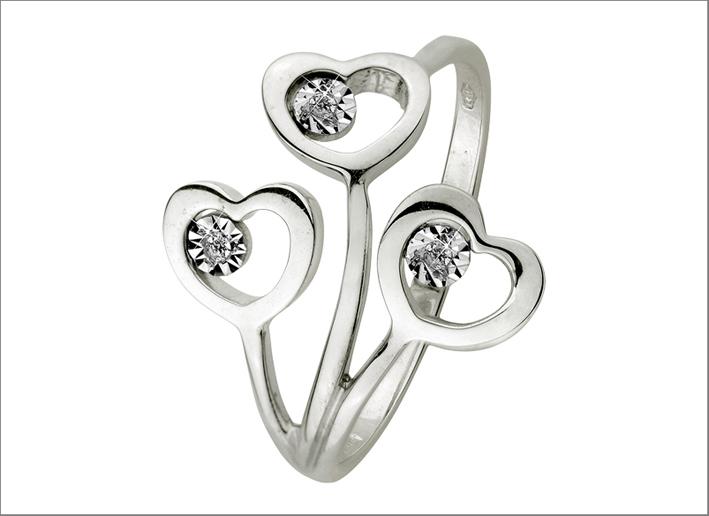 Triplo anello in oro bianco 9 carati con zircone