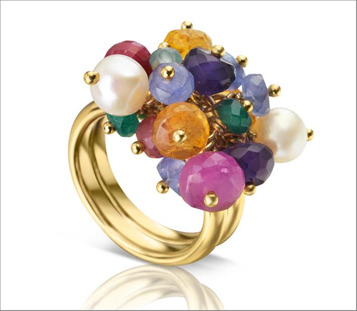 Tous, anello in vermeil con gemme e perla